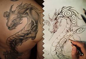 Dragon Beast Tattoo Design by Naschi