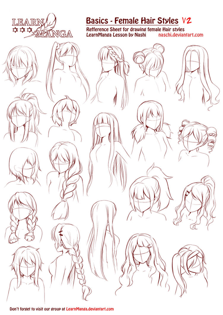 Character Design Hairstyles : Learn manga basics female hair styles v by naschi on