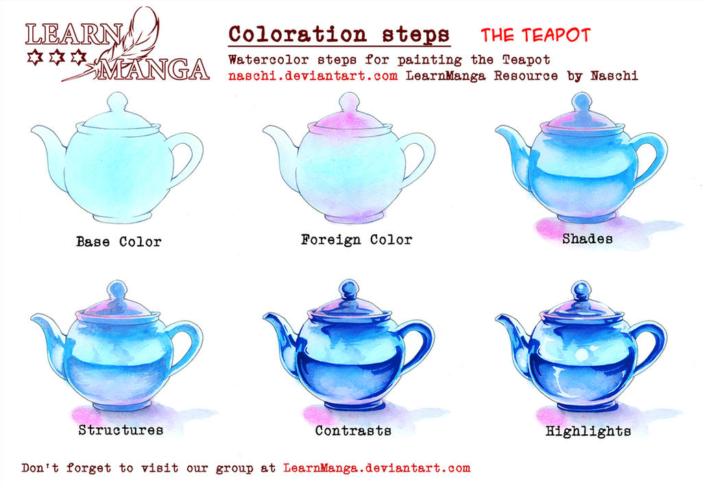Learnmanga Watercolorsteps Teapot By Naschi On Deviantart