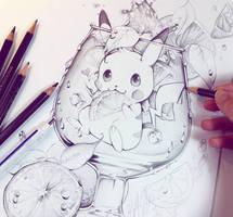Pikachu sketch by Naschi