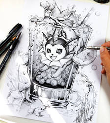 Vaporeon pencil drawing by Naschi