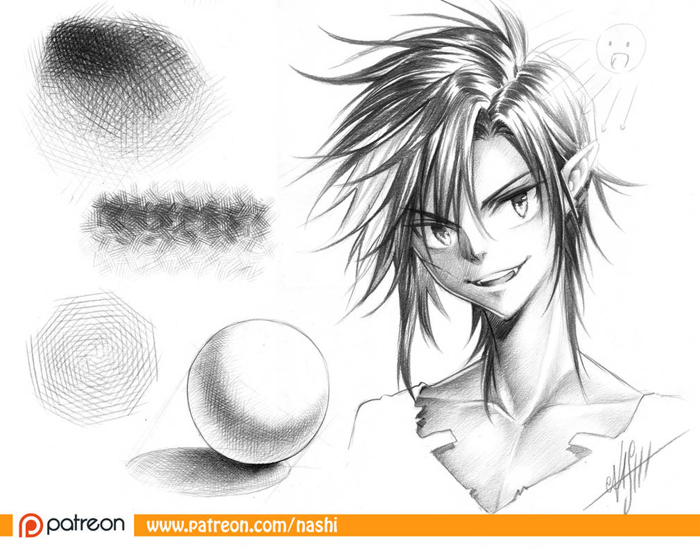 Patreon pencil shading basics manga tutorial by naschi