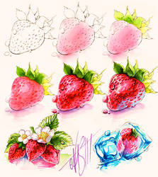 Drawing Stawberries by Naschi