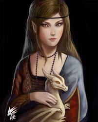 Lady Elf with A Dragon