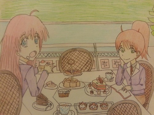Enjoying Desserts with Maddy and Madelyn by Cuteanimefreak777