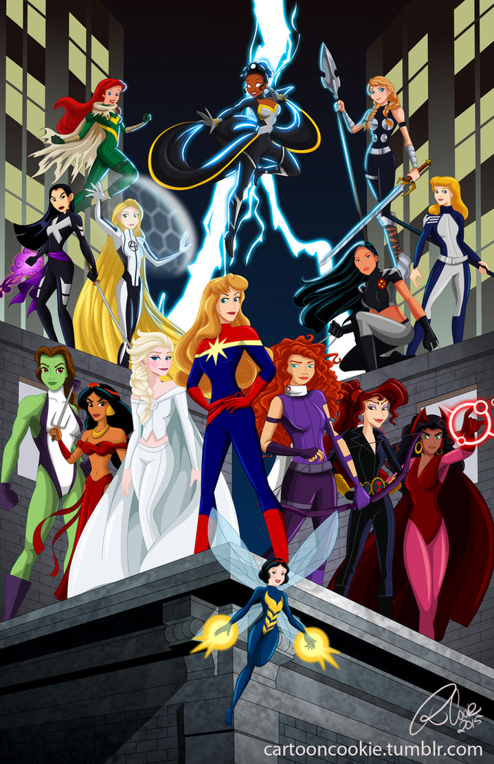 Disney Ladies Meet Marvel Super Heroes by racookie3