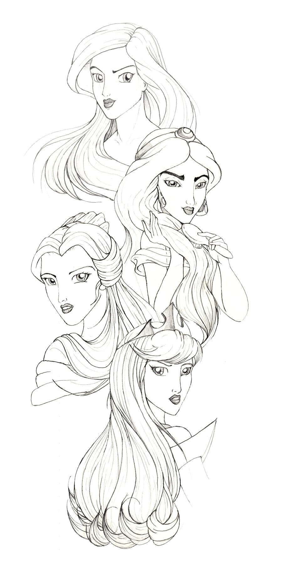 Disney Princesses By Racookie3 On Deviantart Disney Princess Line Drawings Printable