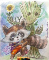 Kid Rocket and Groot by shaunriaz
