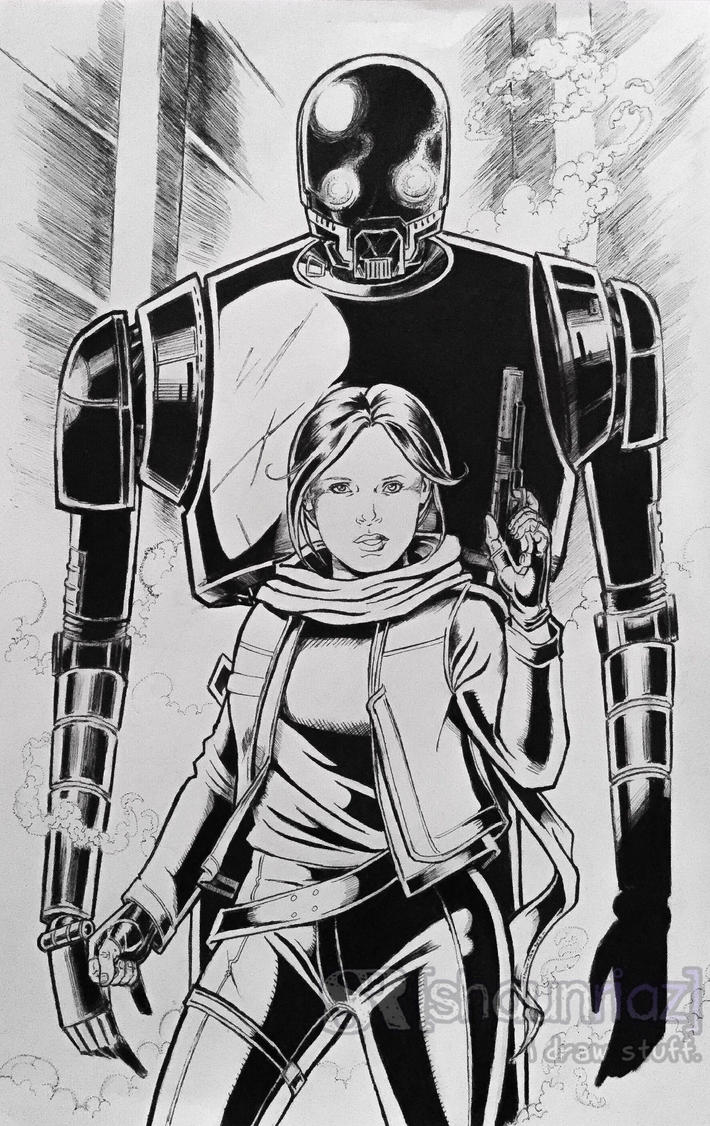 Jyn Erso And K2so. by shaunriaz