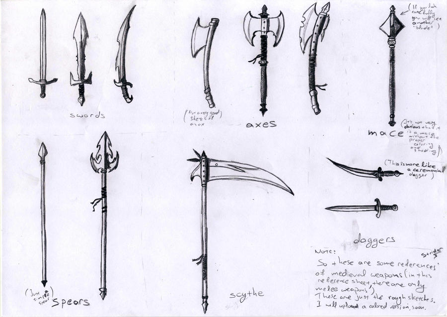 How To Draw Melee Weapons