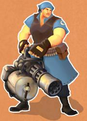 TF2: Heavy Weapons Girl by alciha
