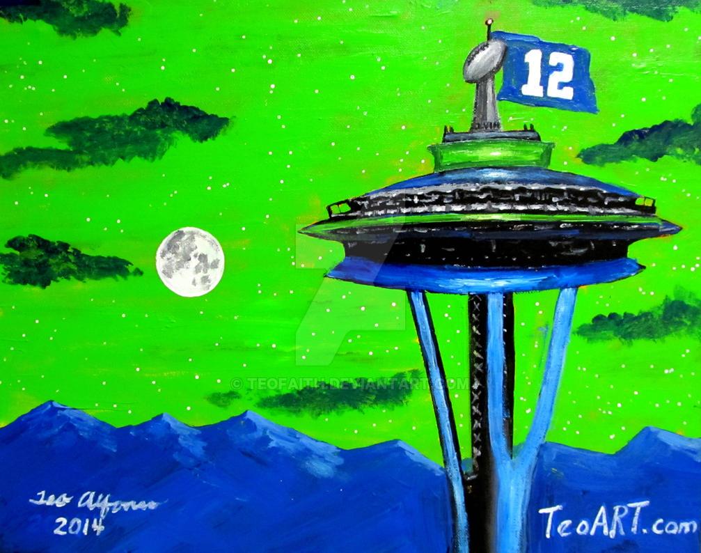 SEATTLE SEAHAWKS SPACE NEEDLE SUNSET ART by TEOFAITH