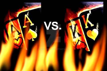 FLAMING ACES VS FLAMING KINGS POKER ART