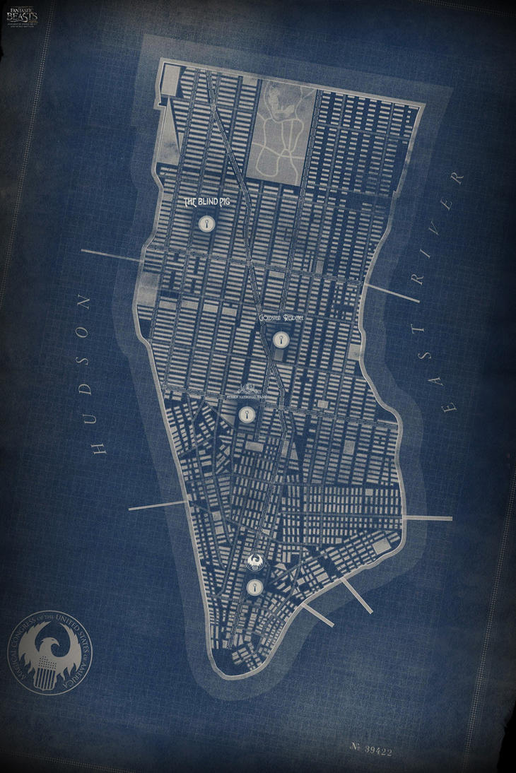 Map of Manhattan in New York City by Pavasara-Dvesma