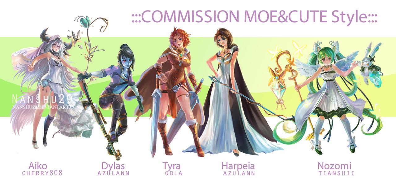 ::Fullbody Moe style::Character Commission set 3 by nanshu29