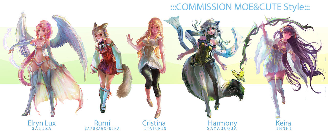 ::Fullbody Moe style::Character Commission set 7 by nanshu29