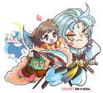 ::Fanart Chibi anime color::  Sesshomaru and Rin