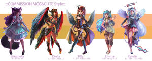 ::Fullbody Moe style::Character Commission set 8 by nanshu29