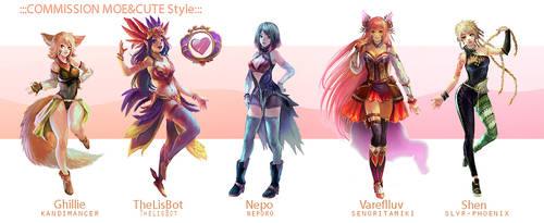 ::Fullbody Moe style::Character Commission set 9 by nanshu29