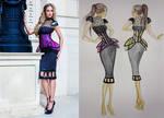 Grey dress + corset