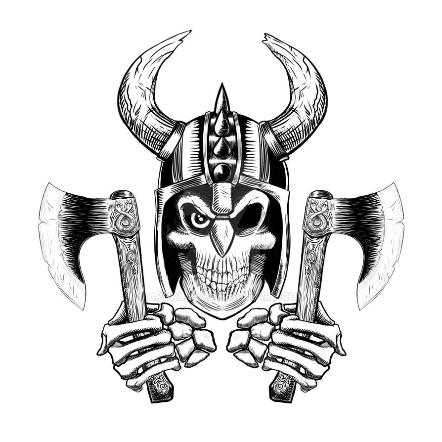 Viking Skull Emblem by Apoklepz