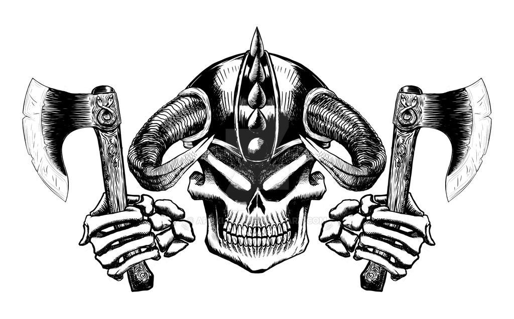 Viking Skull Emblem 02 by Apoklepz