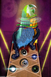 Big Techno Parrot Head Tower Is Watching You