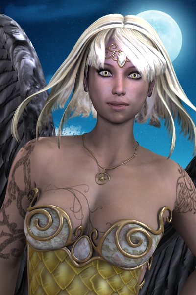 Night Angel Portrait by Andecaya