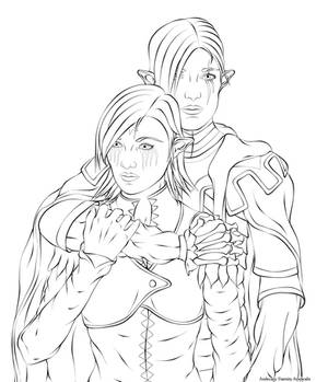 Lineart - Dood and Corra - Art Trade (TIMELAPSE)
