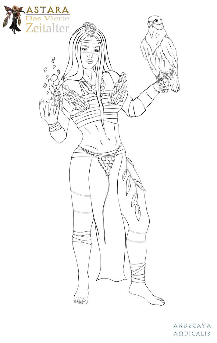 LINEART - Ameysha The Jungle Priestess by Andecaya