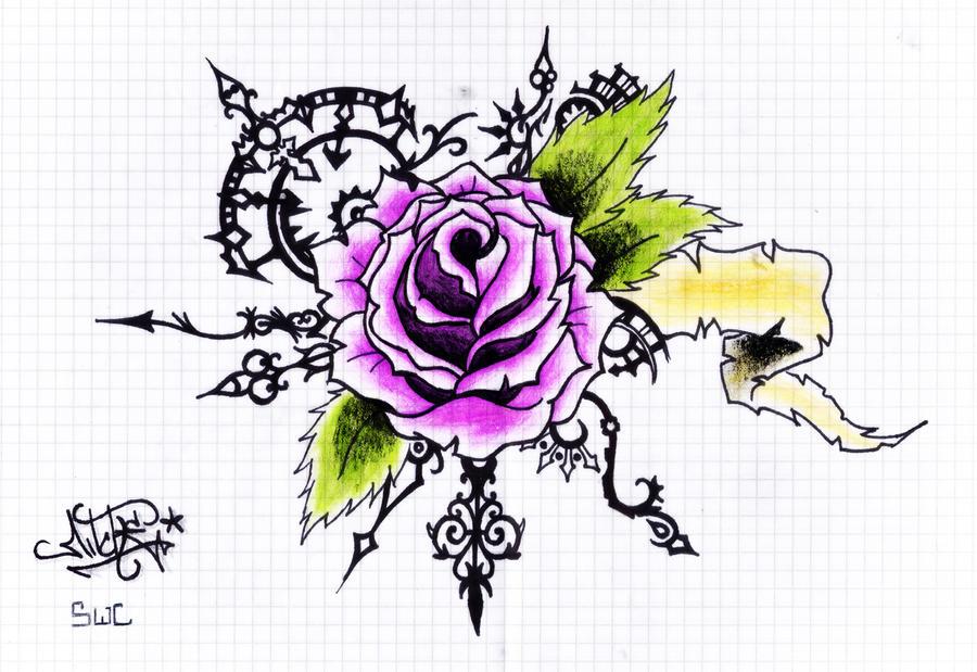 Steampunk rose tattoo by Drocel