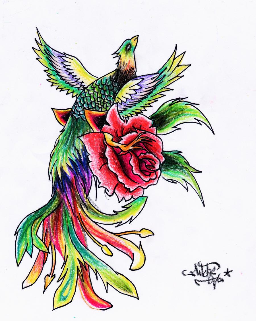 colored phoenix whit rose by drocel on deviantart. Black Bedroom Furniture Sets. Home Design Ideas
