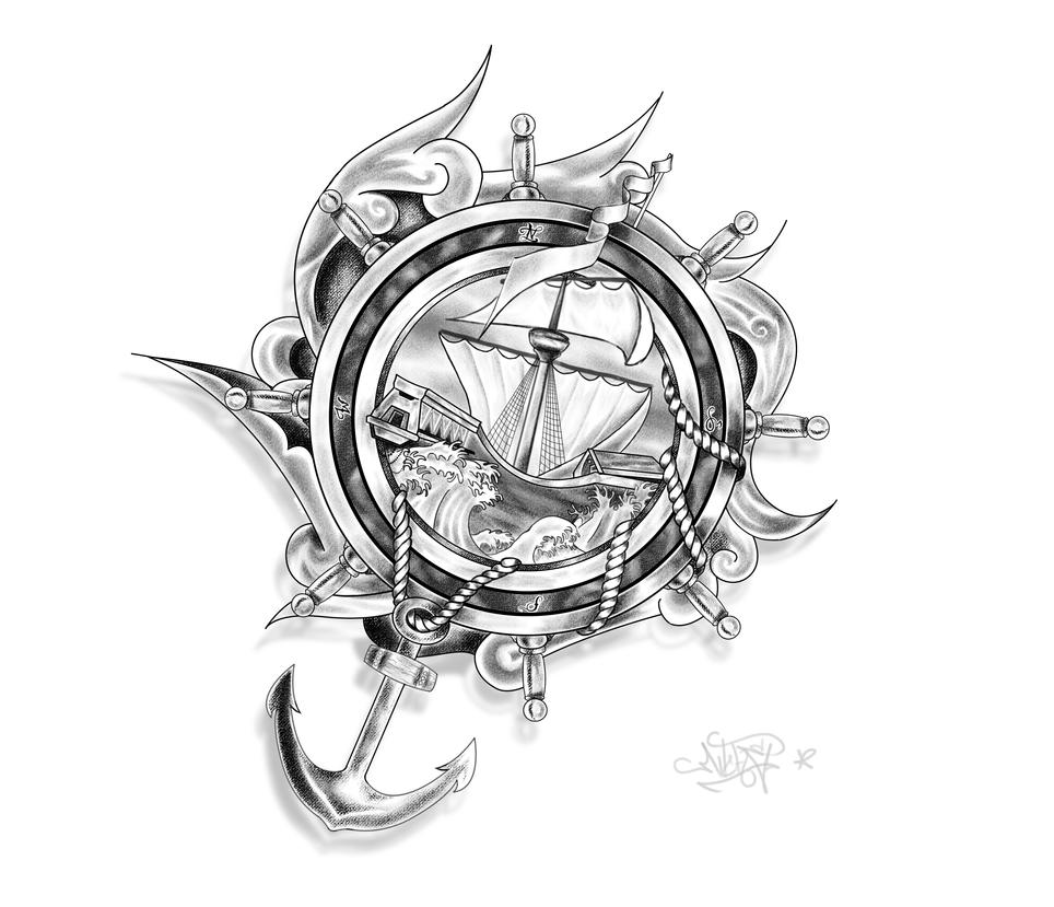 tribal ship designs pirate tattoo Drocel Tattoo ropes Design Ship, DeviantArt : by Anchor and on