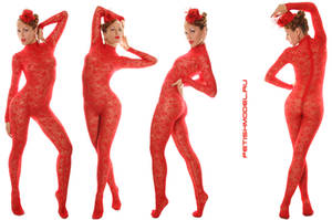 Red Guipure Catsuit by agnadeviphotographer