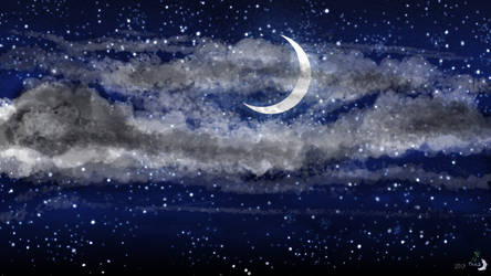 Night Sky - Crescent Moon HD