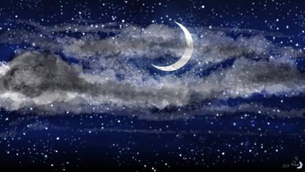 Night Sky - Crescent Moon HD by MonaMoonlight