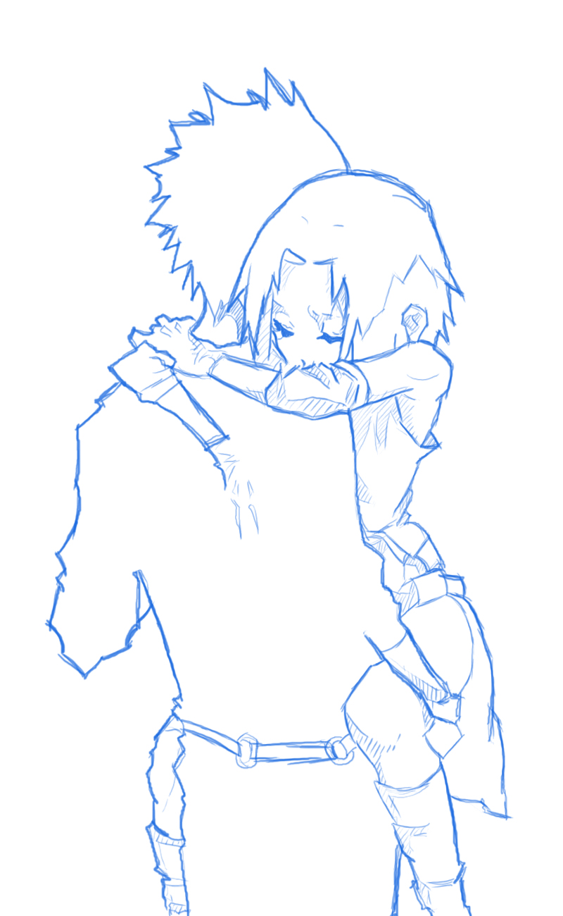 Unfinished manga sketch with boy and girl hugging by ...