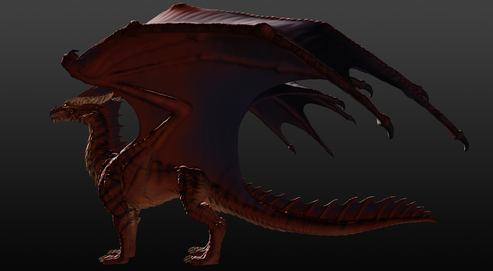 Red Dragon Sculpture Angle 2 by JereduLevenin on DeviantArt