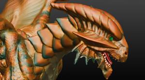 Copper Dragon Sculpture detail