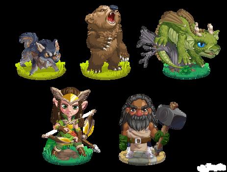 Puzzle Match Battle Character Designs