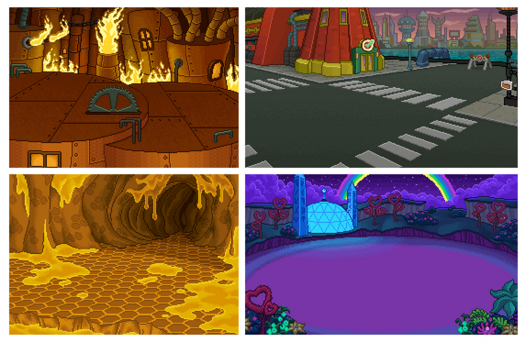 Futurama Pixel Backgrounds by zarry
