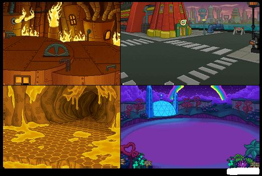Futurama Pixel Backgrounds