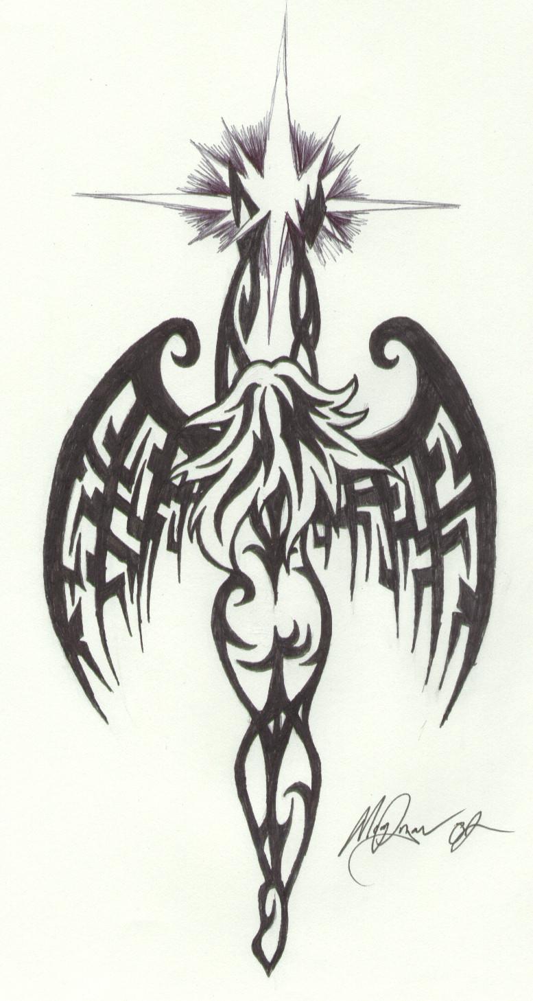 Tribal Angel Wings Tattoo Drawings