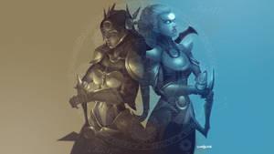 Leona x Diana Wallpaper / League of legends Fanart