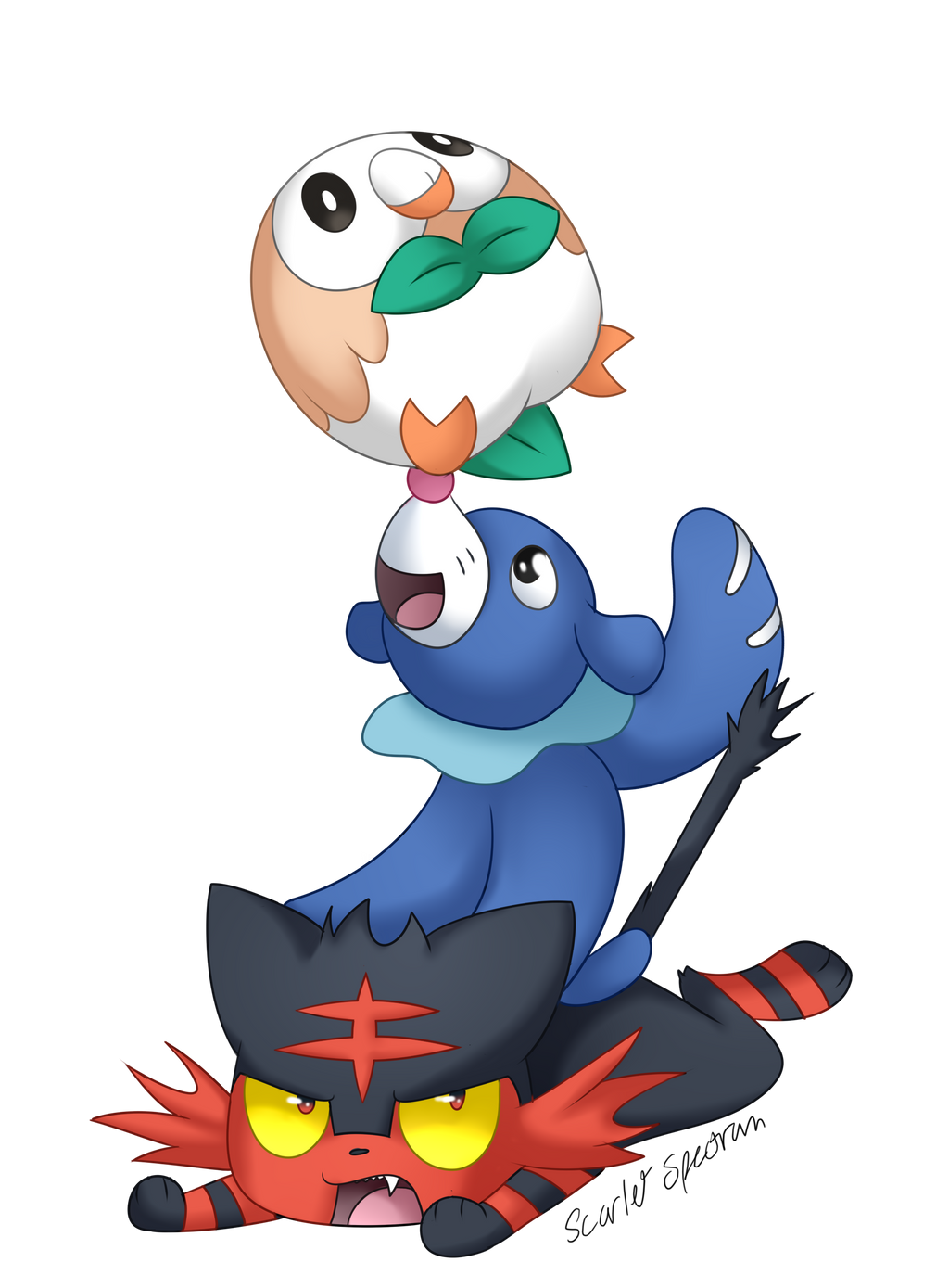 Pokemon coloring pages popplio - Rowlet Popplio And Litten 608528727