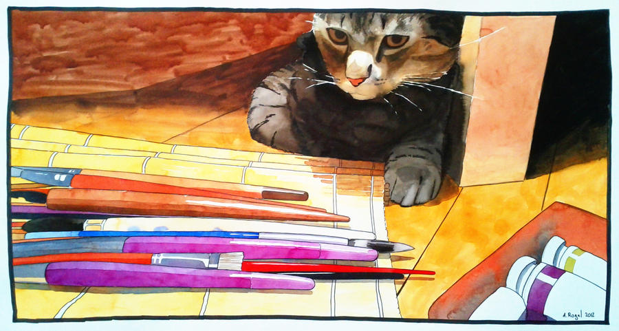 watercolor -- Maurice and the brushes