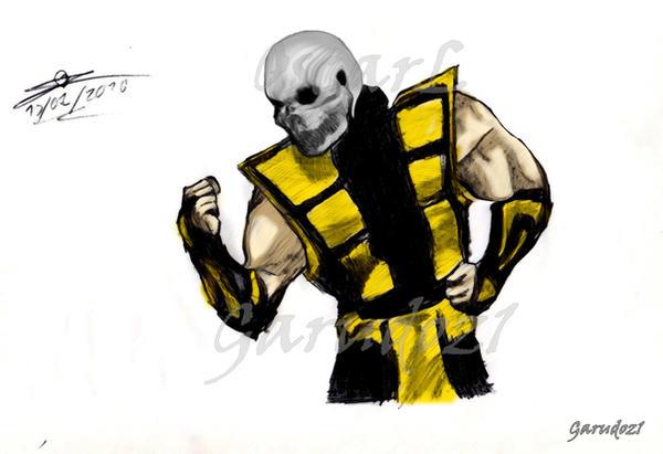 Scorpion Skeleton Without Mask Mortal Kombat Draw By Garudoz1 On