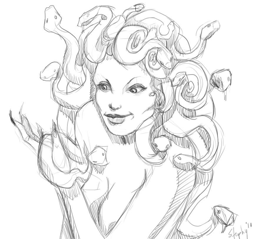 Medusa coloring pages hellokidscom sketch coloring page for Medusa coloring page