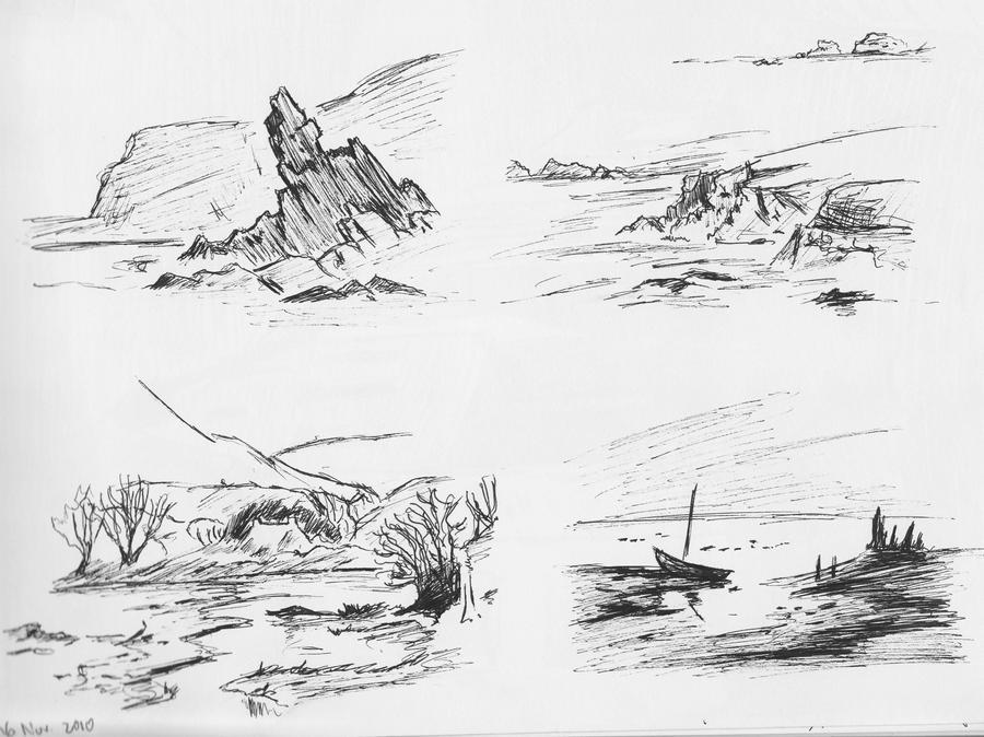 Art Sketches Landscapes Four Landscape Pen Sketches by