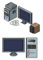 Monitor, computer, modem, CD